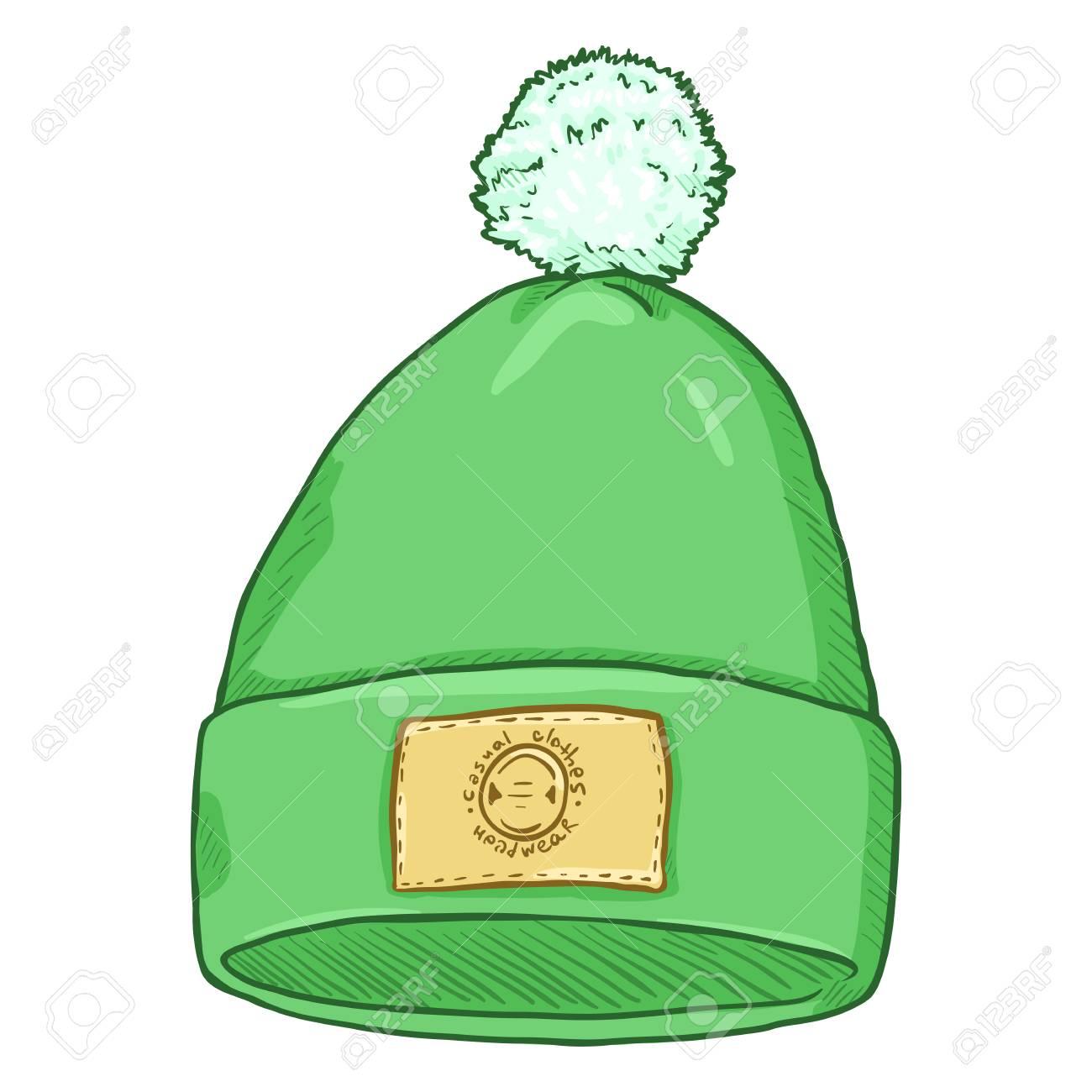 Chapeau De Animé Vecteur Avec Clip Pompon Dessin Vert IW9ED2H