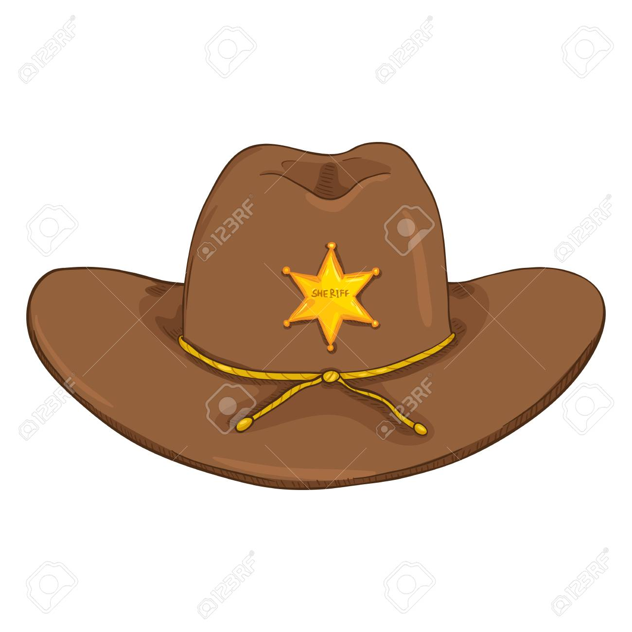 vector cartoon sheriff cowboy hat with gold star badge on white rh 123rf com cartoon cowboy hat png cartoon cowboy hat and boots