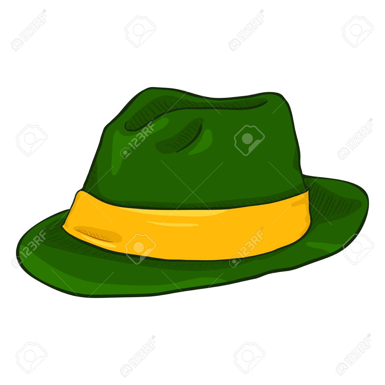 Vector - Vector Single Cartoon Irish Color Fedora Hat. Green Headwear with  Yellow Ribbon 64dc99ddde1