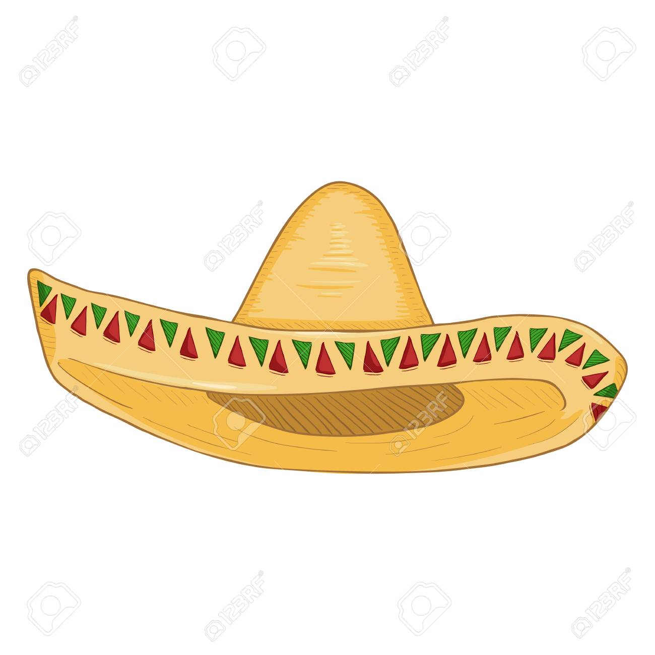 Vector - Vector Cartoon Traditional Mexican Hat. Classic Yellow Straw  Sombrero. 1c156d5d339
