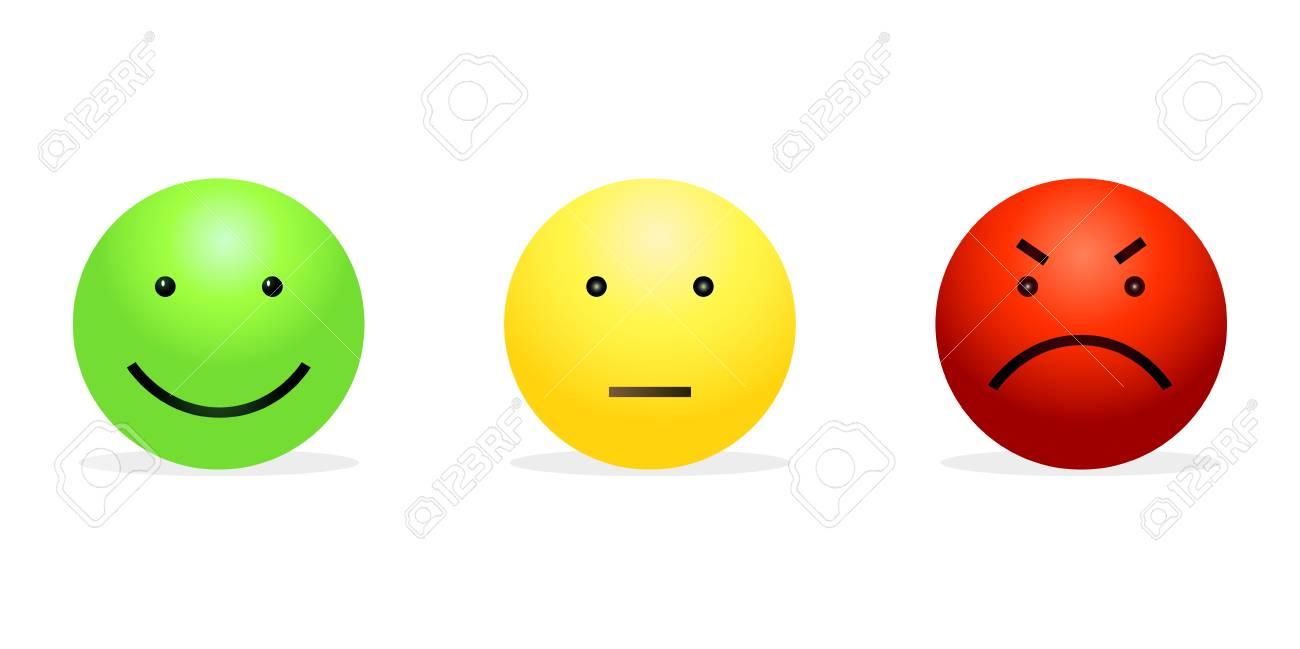 Vector Set De 3 Smileys Vert Heureux Jaune Calme Et Rouge Furieux Reverbere Des Emotions Clip Art Libres De Droits Vecteurs Et Illustration Image 90705647