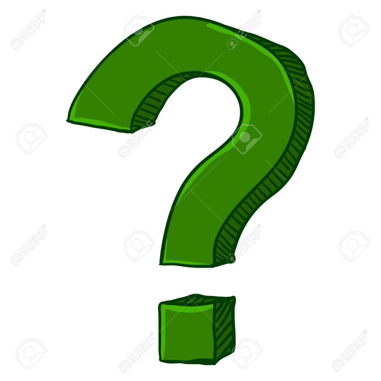 vector cartoon green doodle question mark on isolated white rh 123rf com question mark vector free download question mark vector free download