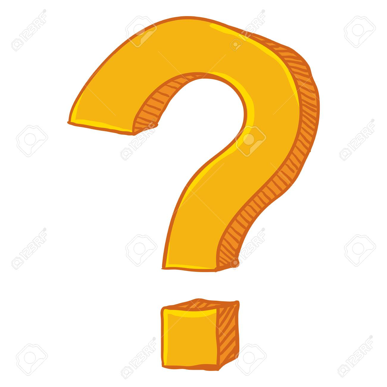 Vector Cartoon Yellow Doodle Question Mark on Isolated White Background - 91247923