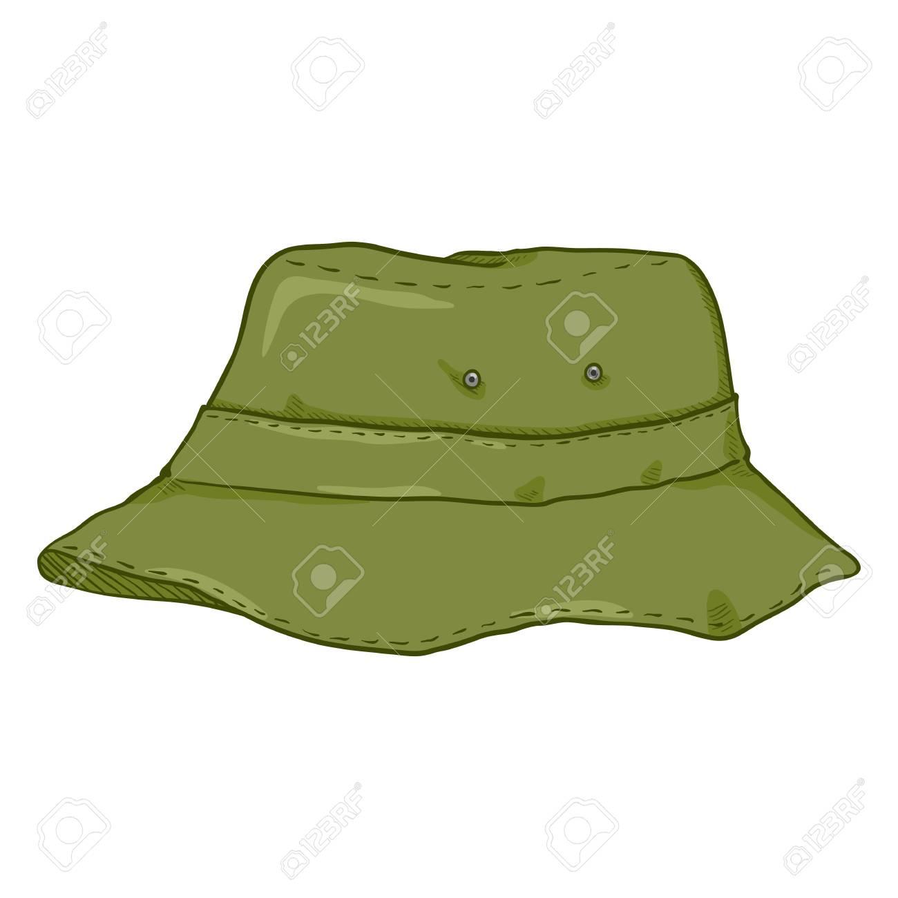 c8979fa952b4c4 Vector - Vector Single Cartoon Khaki Bucket Hat. Military Style Panama Hat