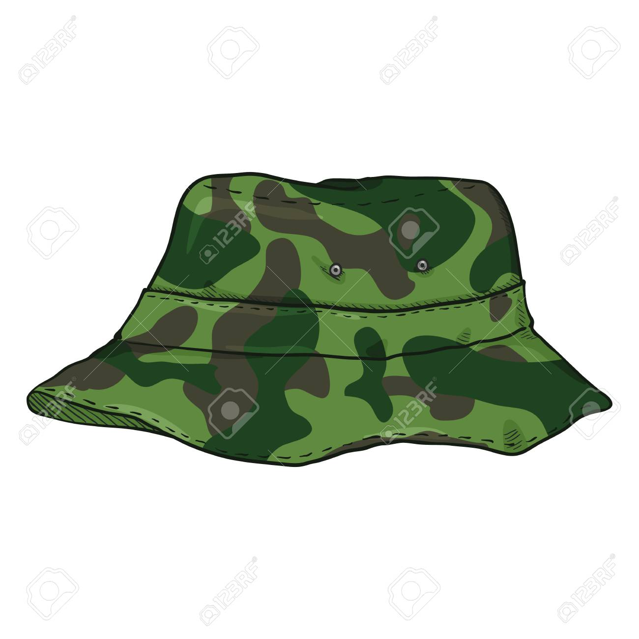 Vector - Vector Single Cartoon Camouflage Bucket Hat. Military Style Panama  Hat 1d38ff4548e
