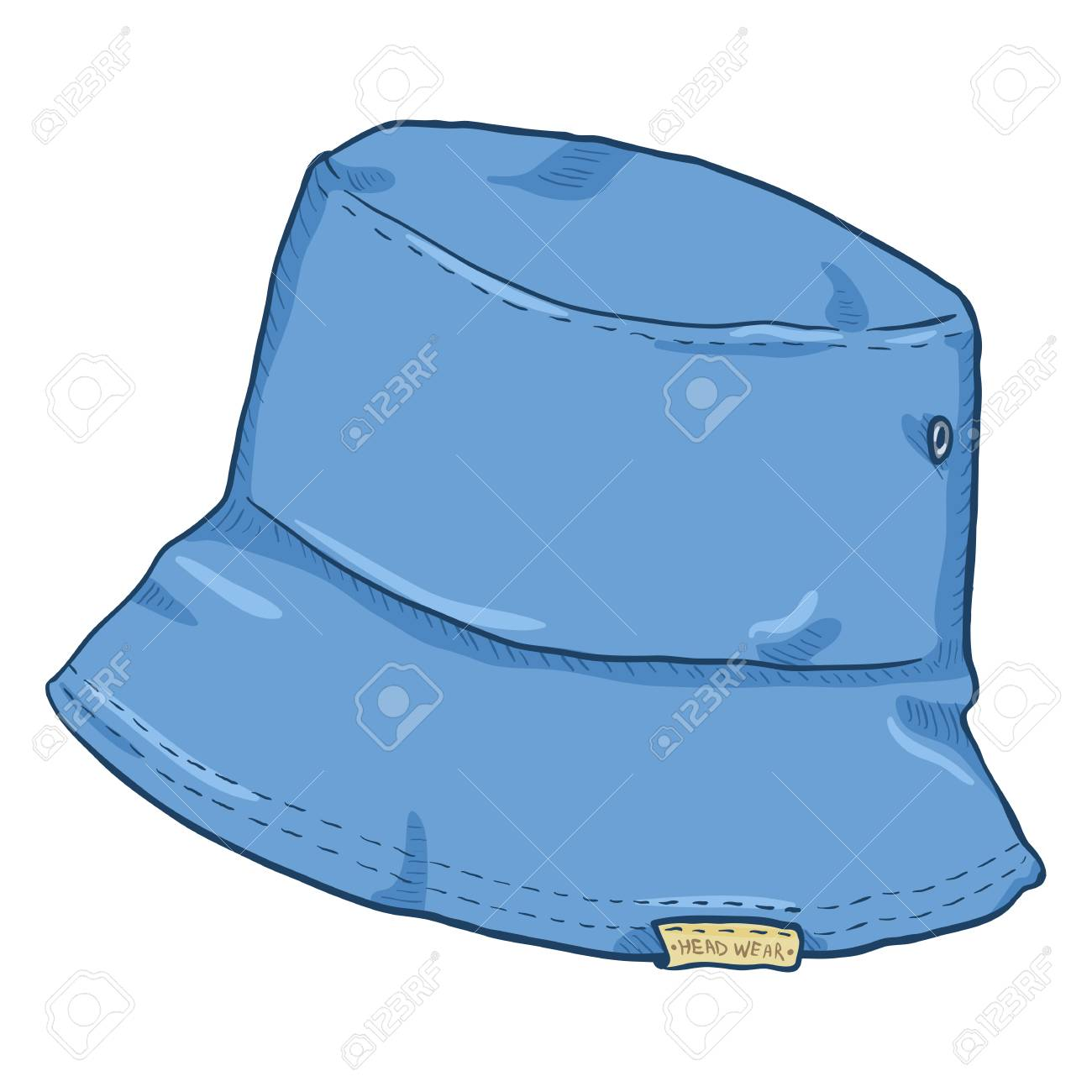 9b224d4694 Vector - Vector Single Blue Denim Cartoon Bucket Hat. Urban Street Style.