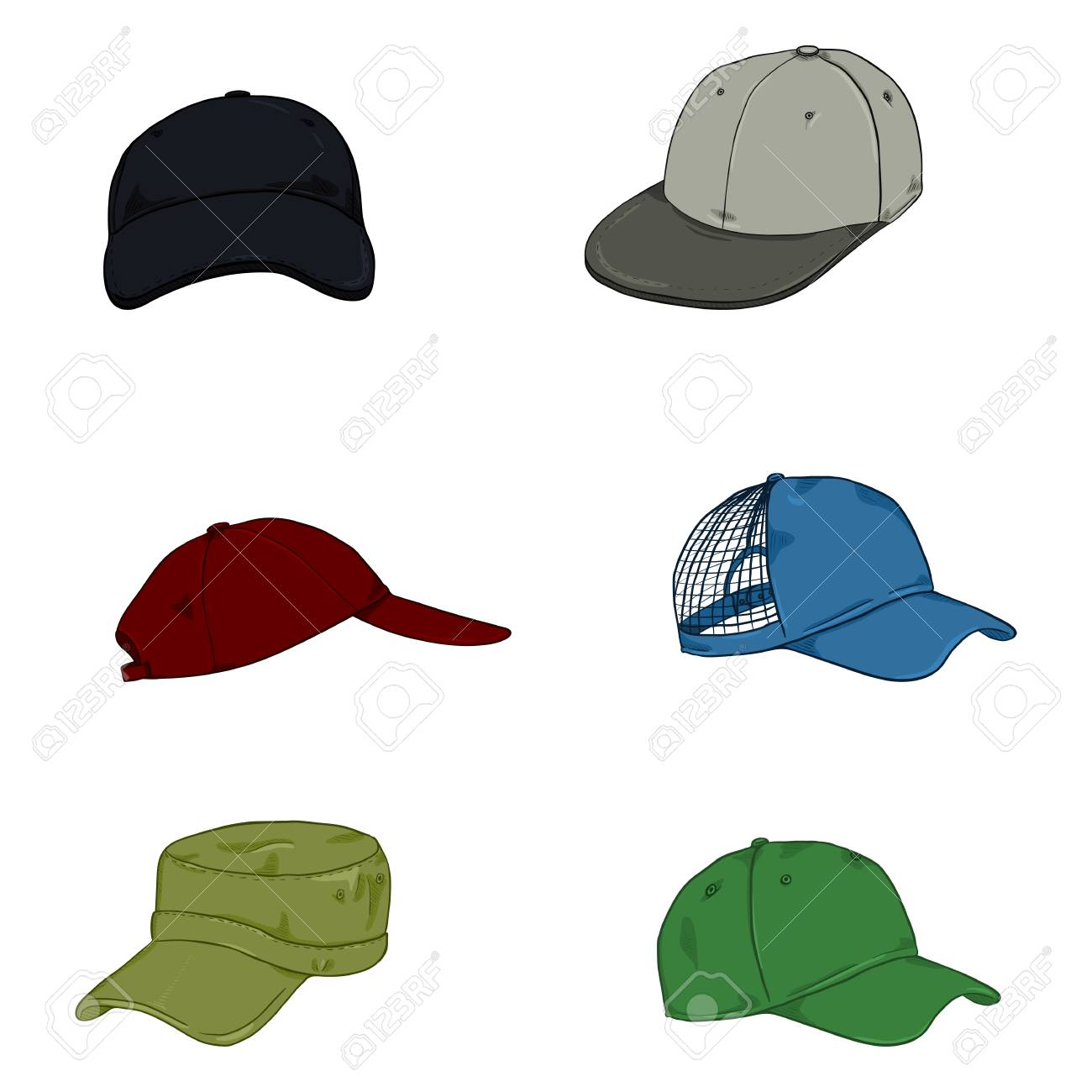 1202aa40d5c75 Vector Set of Cartoon Color Baseball Caps. Side and Front Views.