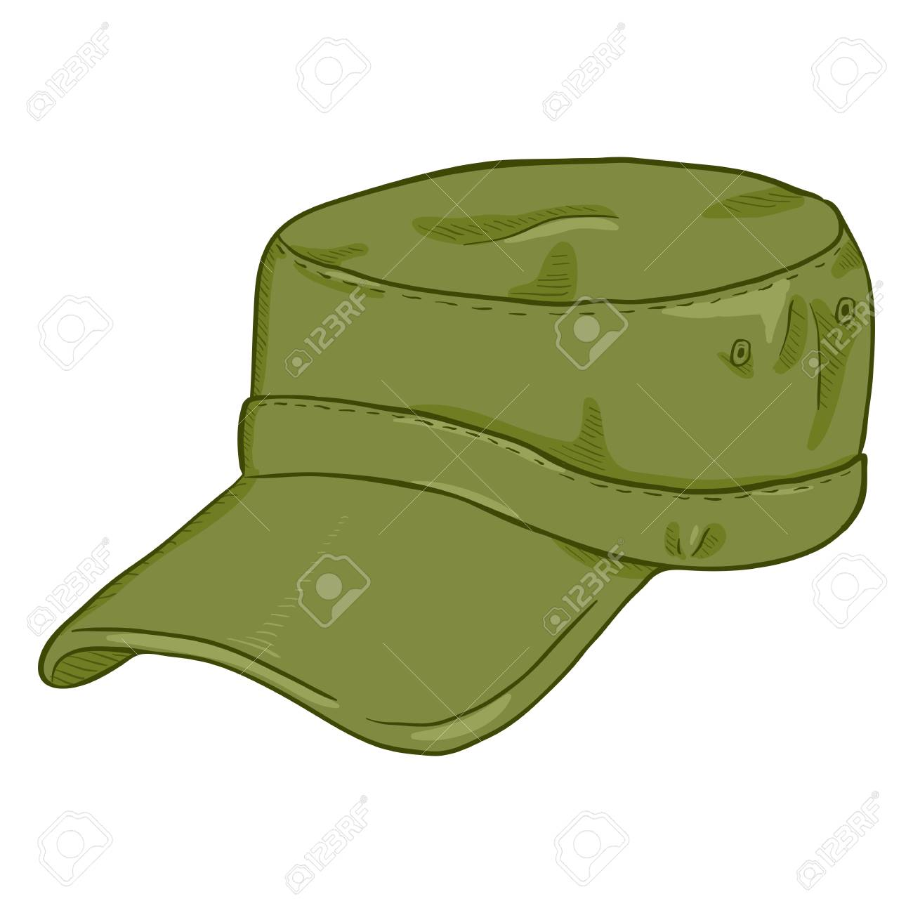 Vector Cartoon Khaki Army Cap. Summer Military Head Gear Royalty ... b40c49cf8456