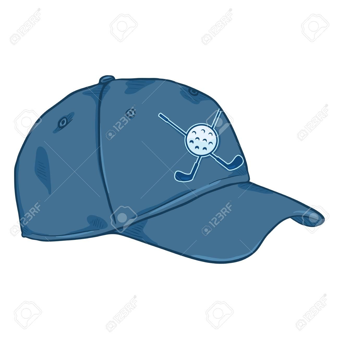 Foto de archivo - Gorra de béisbol azul clásica de la historieta del vector  con el logotipo del golf 676682afd31