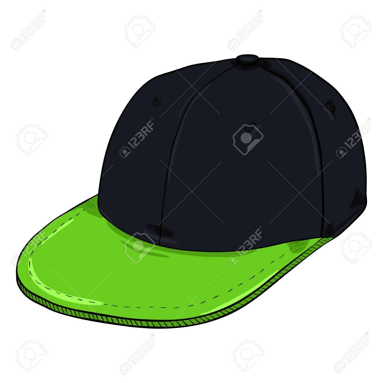 Foto de archivo - Gorra de béisbol retra negra de la historieta del vector  con el pico verde plano. Sombreros de Hip-hop. 439b1482098