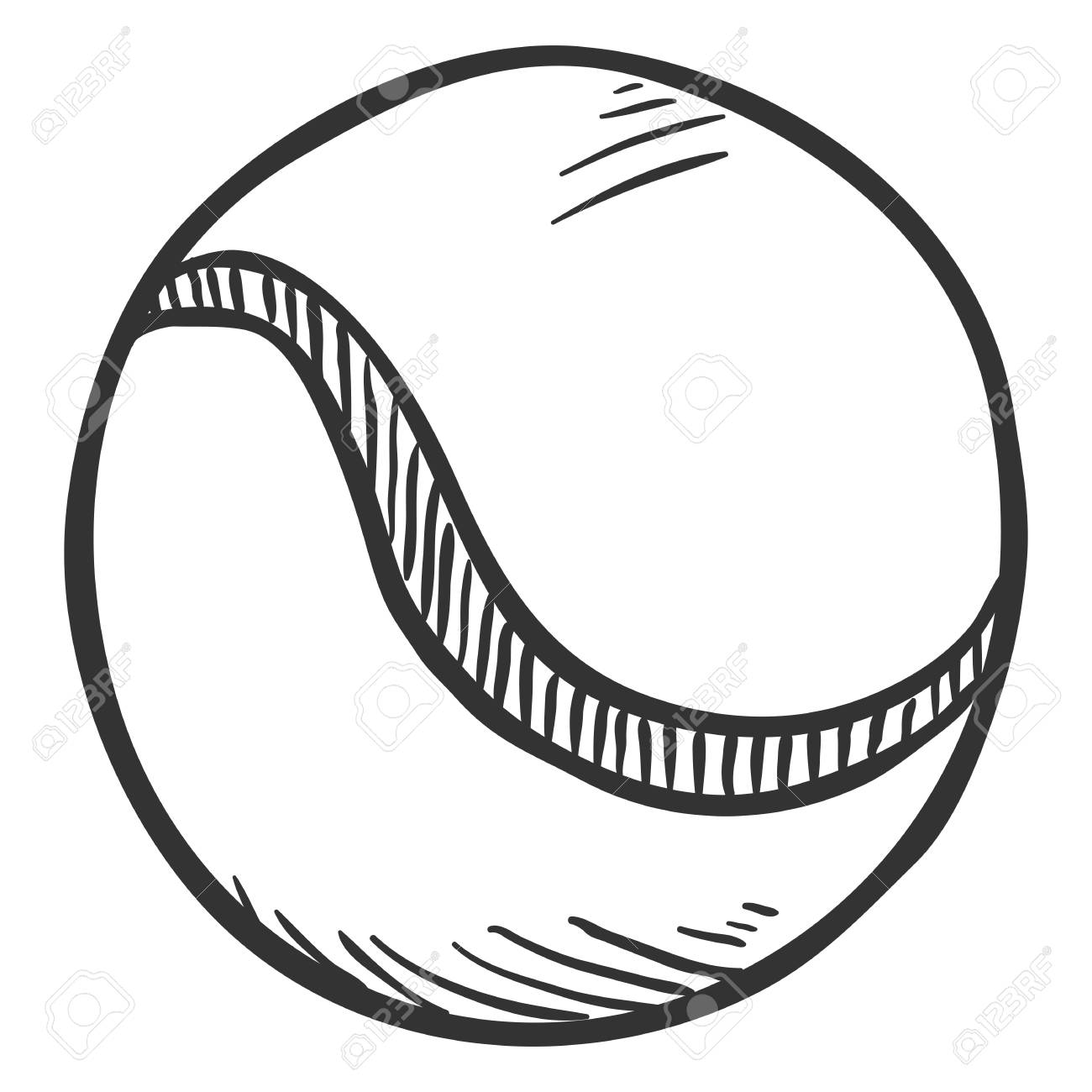 Vector pencil sketch tennis ball on white background