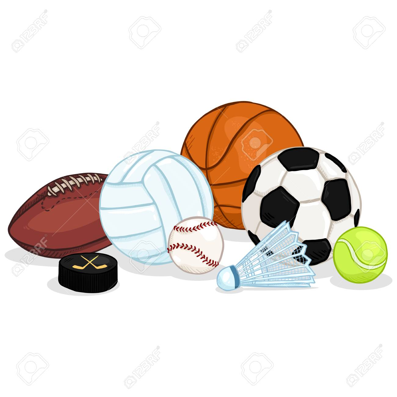 Vector Cartoon Color Sport Set Pile Of Different Balls And Royalty Free Cliparts Vectors And Stock Illustration Image 96475875