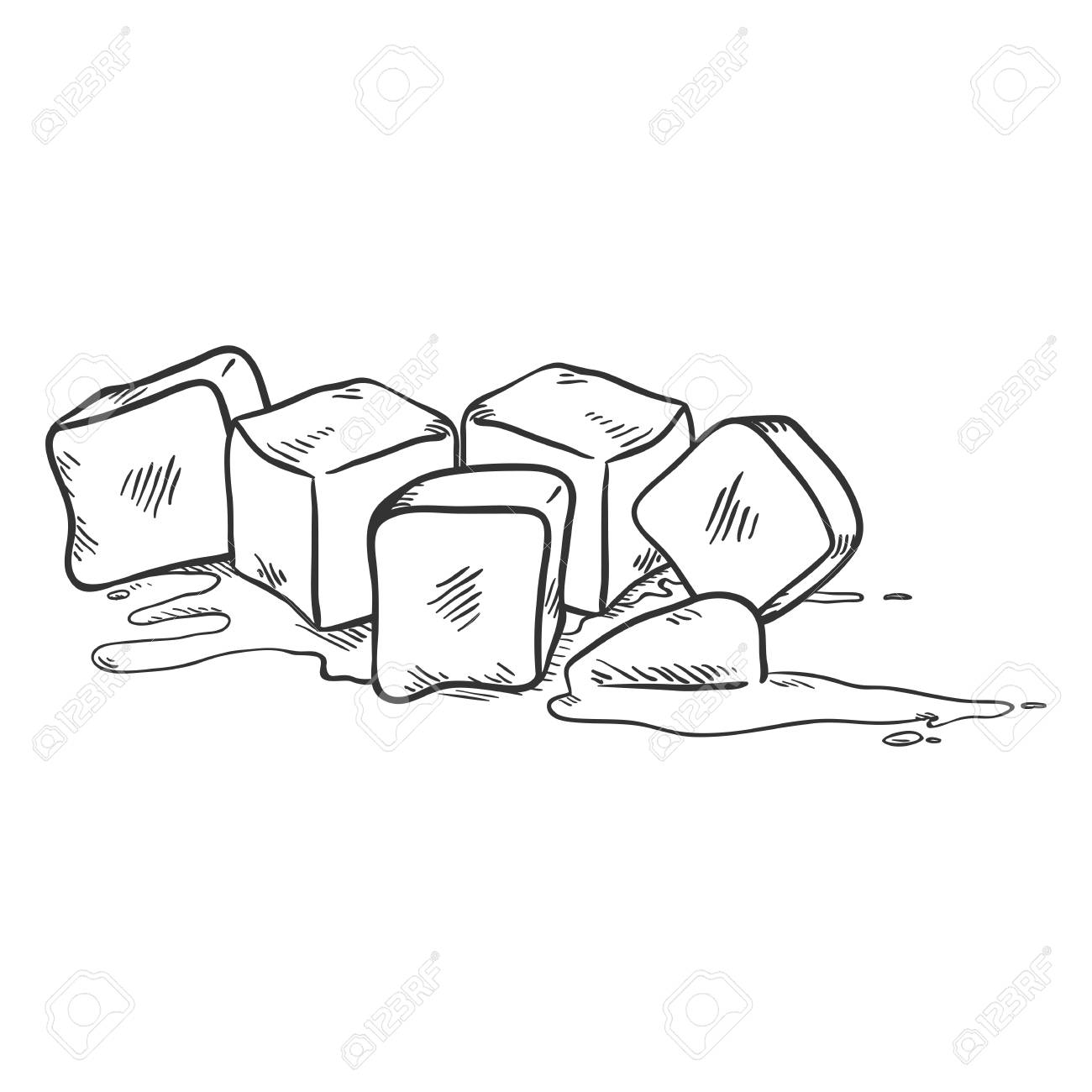 vector black sketch illustration ice cubes melting royalty free cliparts vectors and stock illustration image 99617390 vector black sketch illustration ice cubes melting
