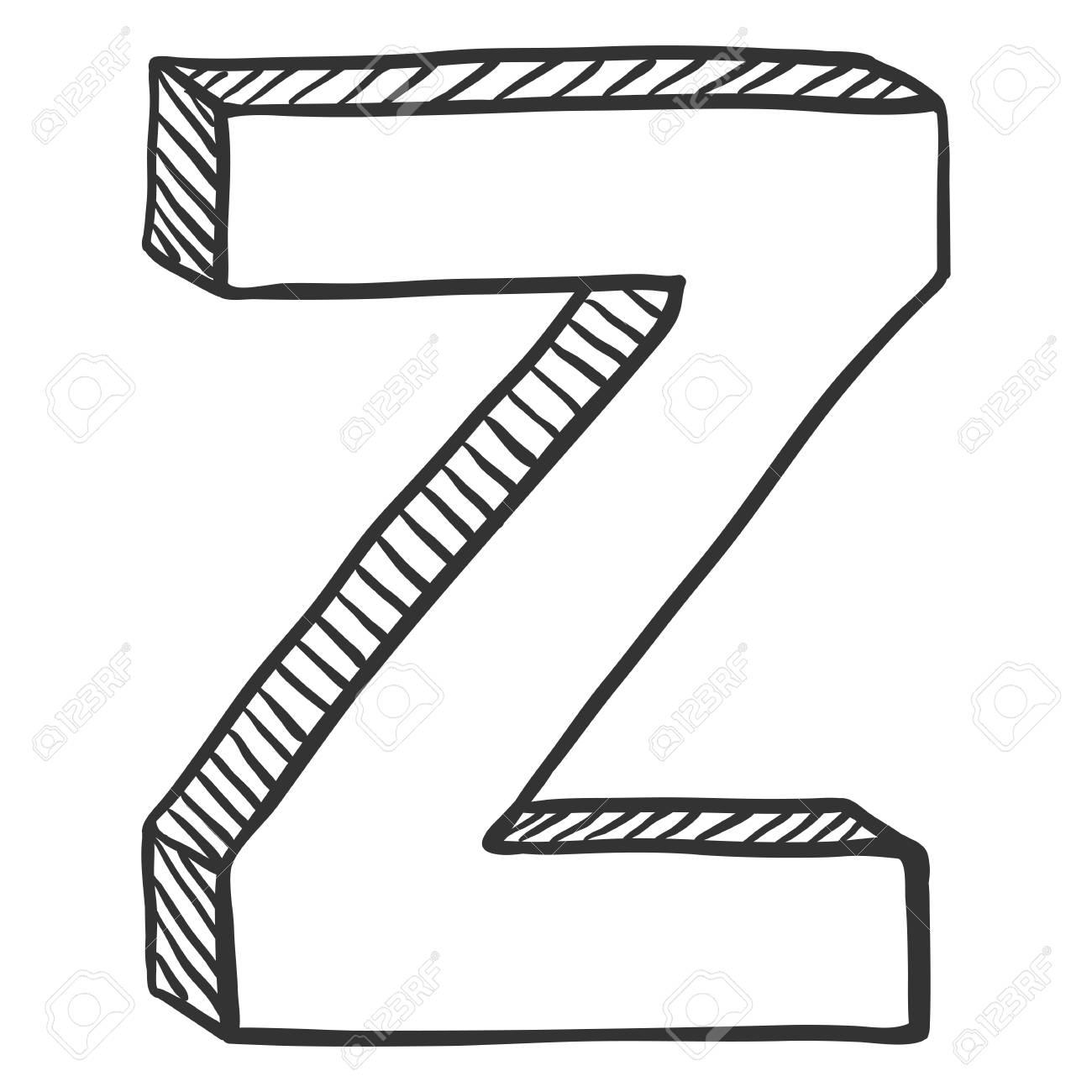 Letter Z Pictures.Vector Doodle Sketch Illustration The Letter Z