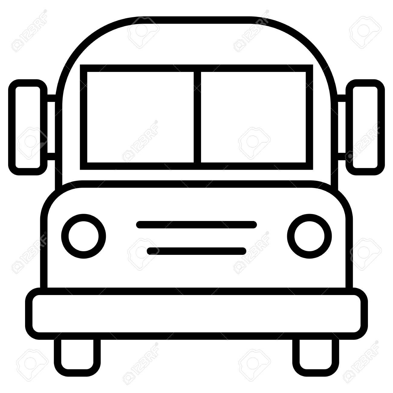 Vector Single Black Outline Icon School Bus Royalty Free