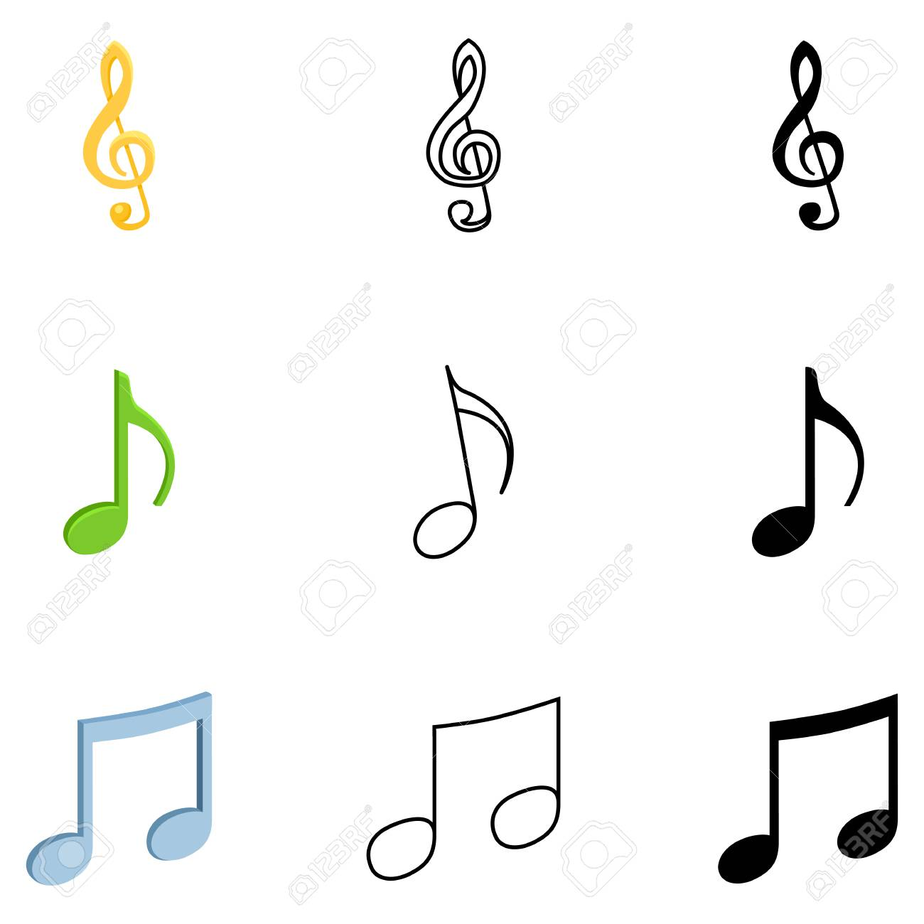 Vector Set Of Music Notes Symbols Different Style Icons Royalty