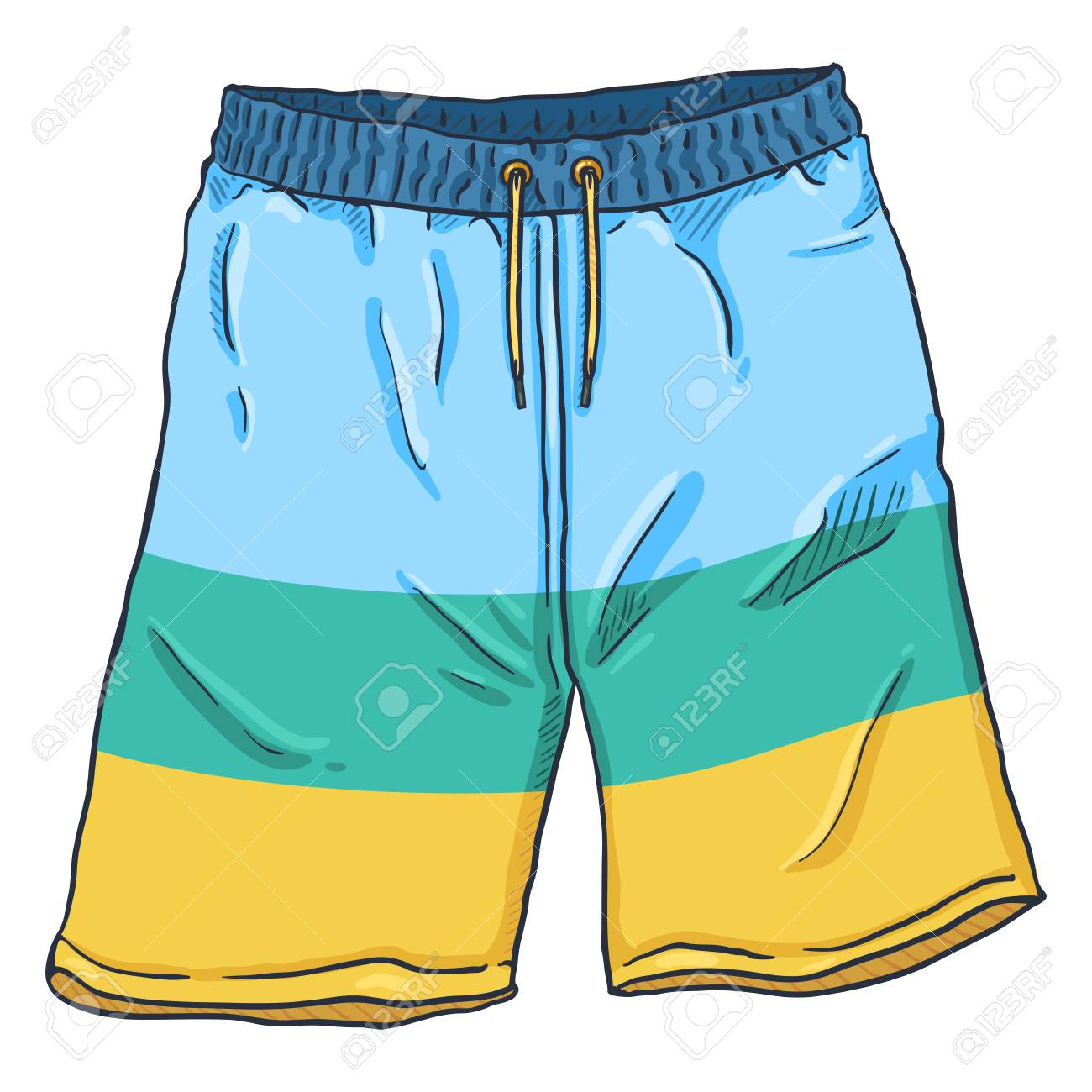 Vector Cartoon Illustration - Beach Colorful Swimming Shorts - 111849286