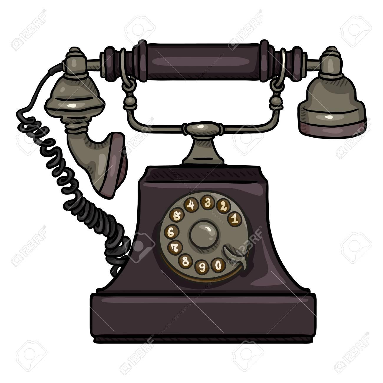 Vector Cartoon Purple Old Vintage Telephone  Retro Rotary Phone
