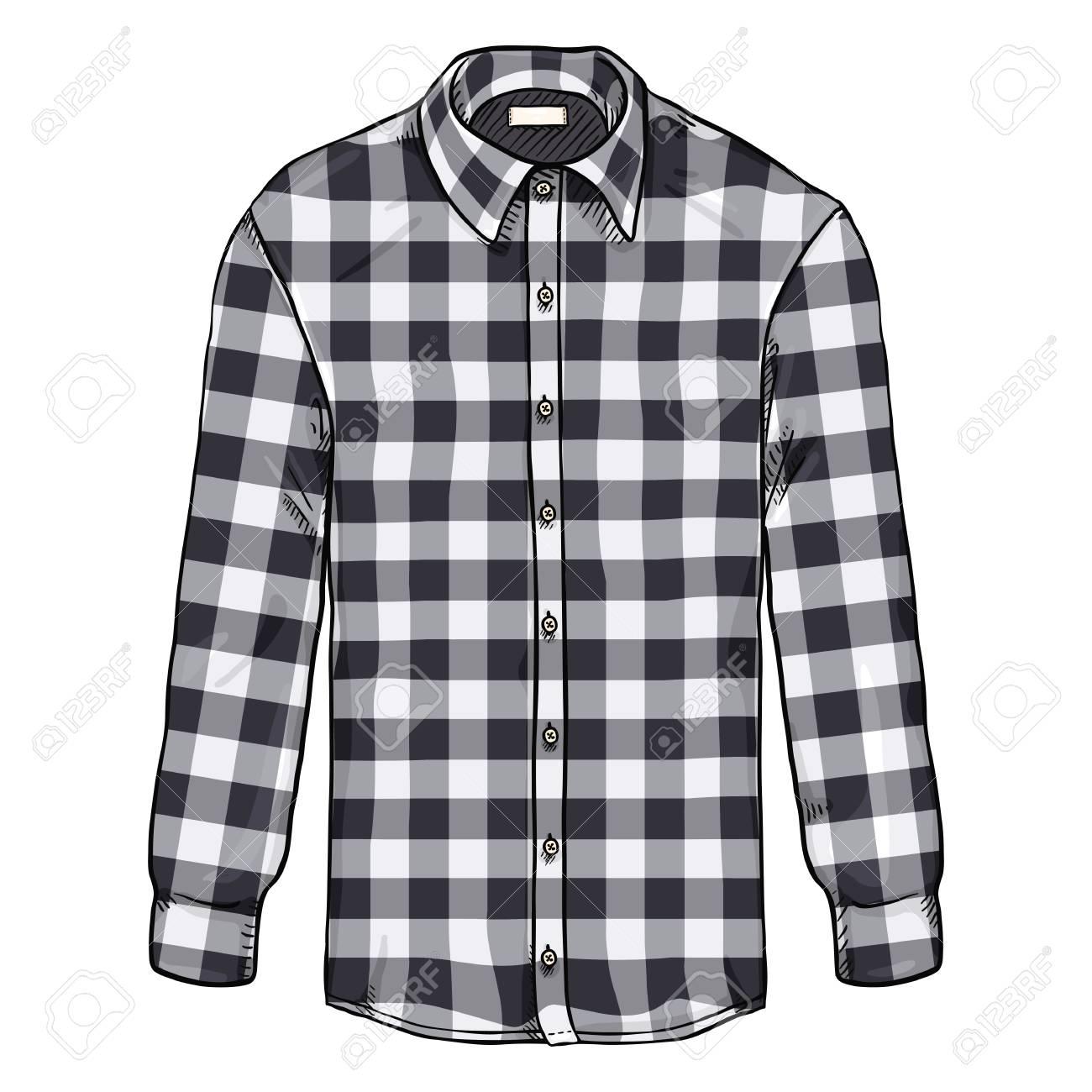 5cd2a21d215 Vector Cartoon Long Sleeve Black and White Checkered Men Shirt