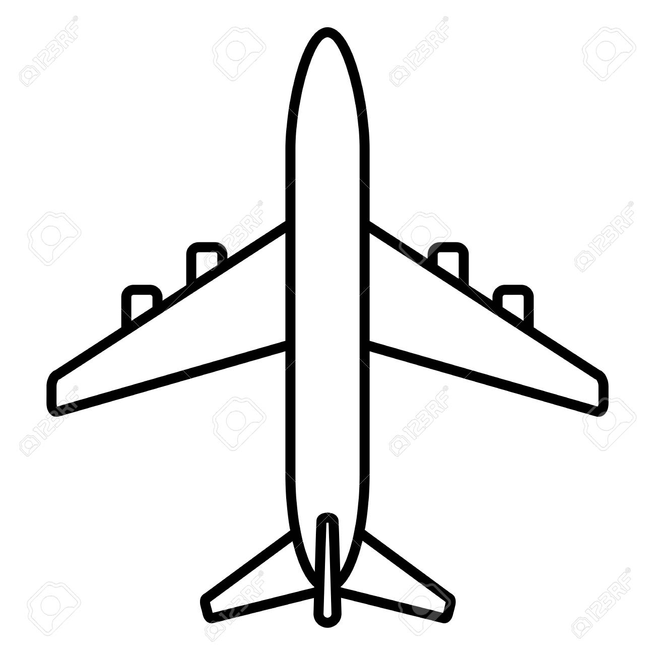 Vector Black Outline Passenger Plane Icon Royalty Free Cliparts