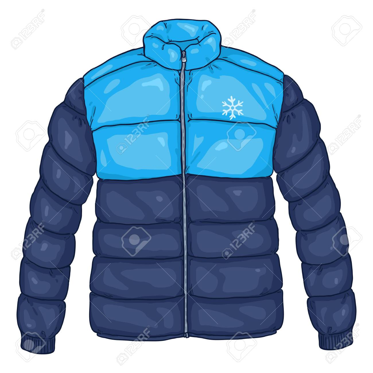 Vector Cartoon Blue Down Jacket Illustration with Snowflake Logo - 130400007