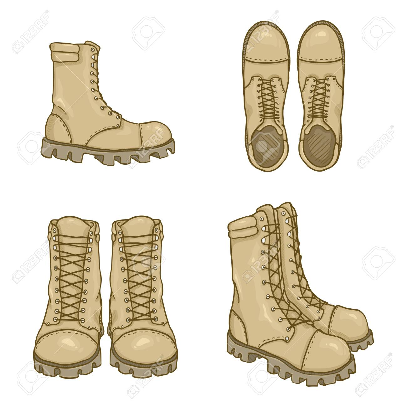 Vector Set of Cartoon Beige Army Boots Illustration - 137247422