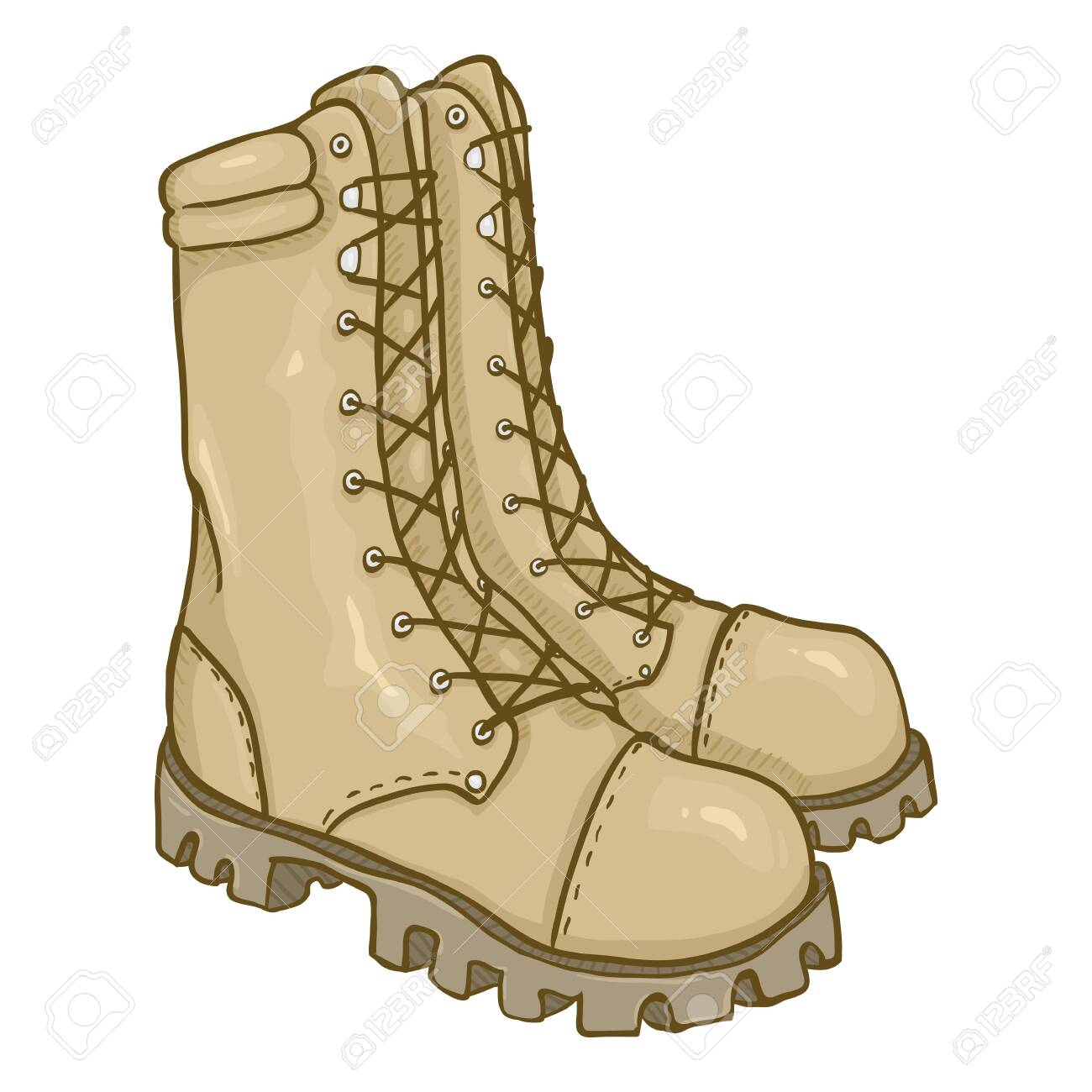 Vector Cartoon Beige Army Boots. Sand Color High Military Shoes. - 137247417