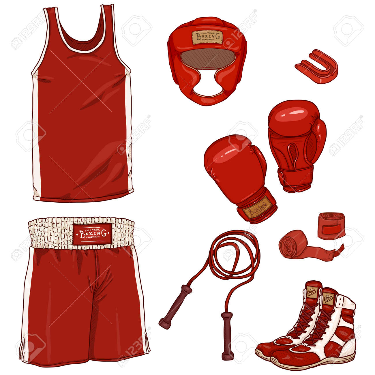 Vector Set of Cartoon Red Boxing Equipment. Helmet, Uniform, Gloves, Hand Wrapes, Mouthpiece and Shoes - 168798649
