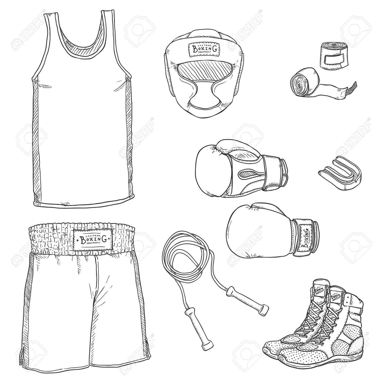 Sketch Boxing Equipment. Hand Drawn Illustrations Set - 168798651