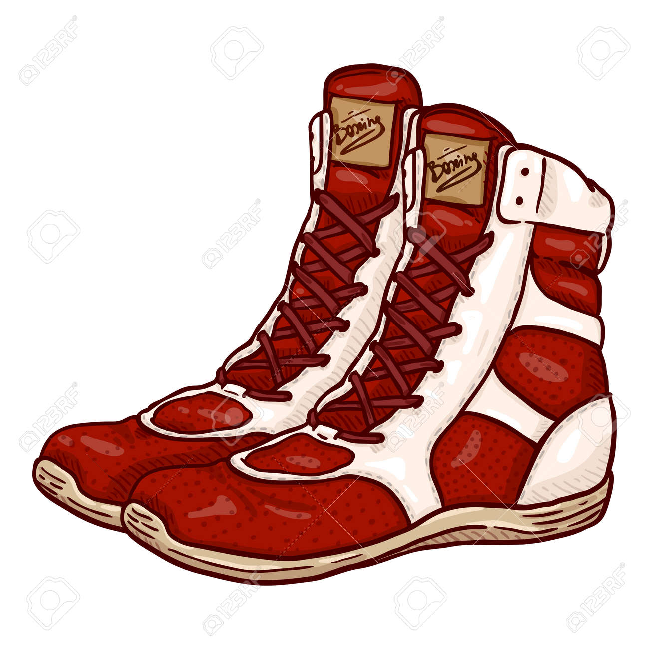 Vector Cartoon Red Boxing Shoes Illustration - 168798655