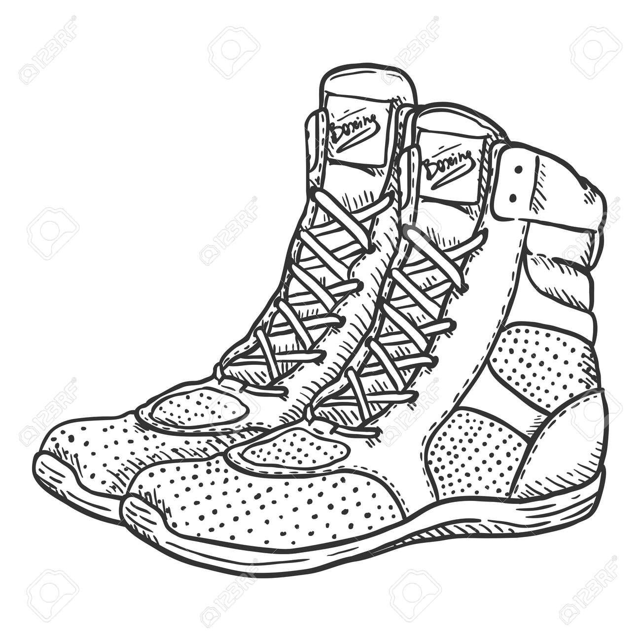 Vector Hand Drawn Sketch Boxing Shoes - 168798656