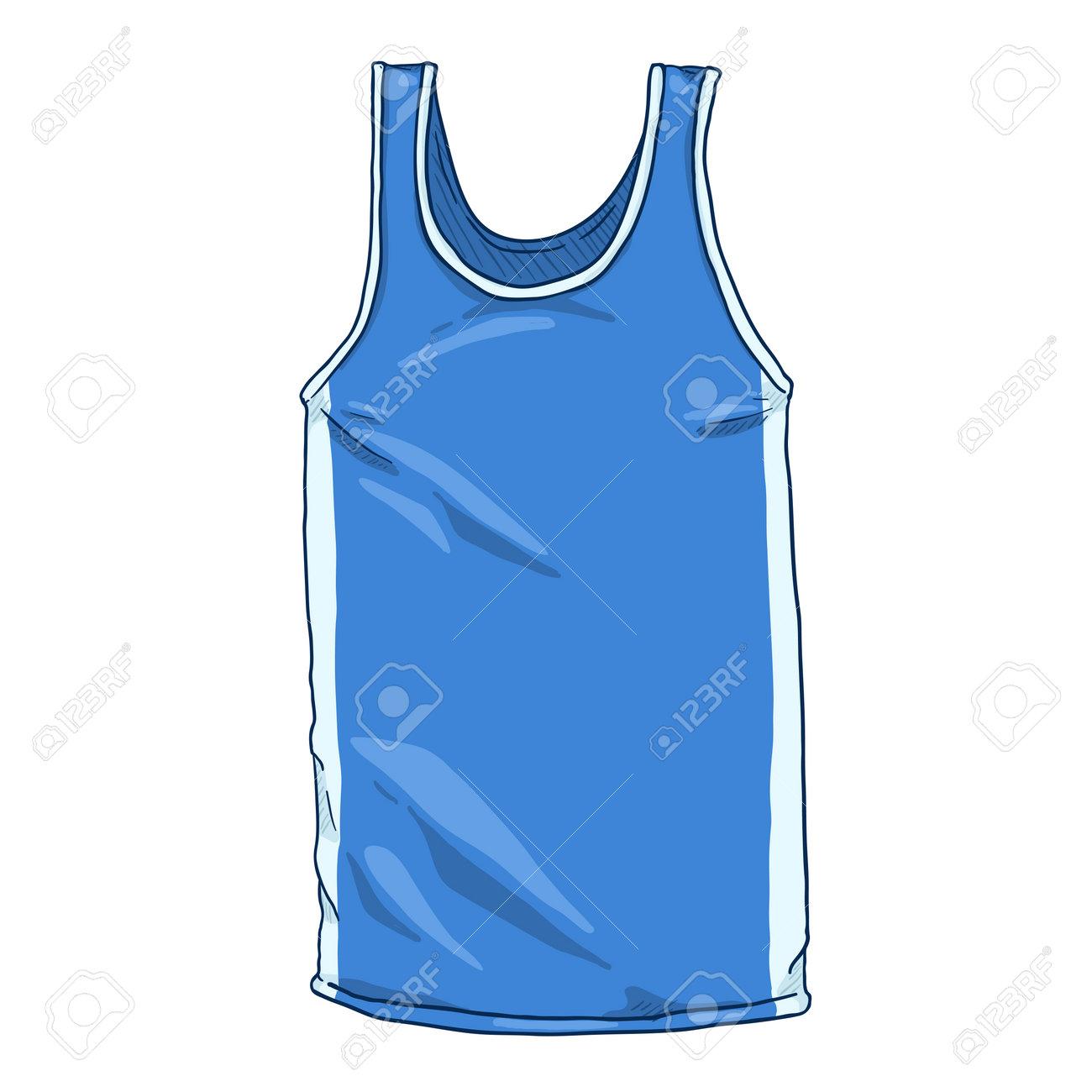 Vector Cartoon Blue Boxing Tank Shirt - 168798659