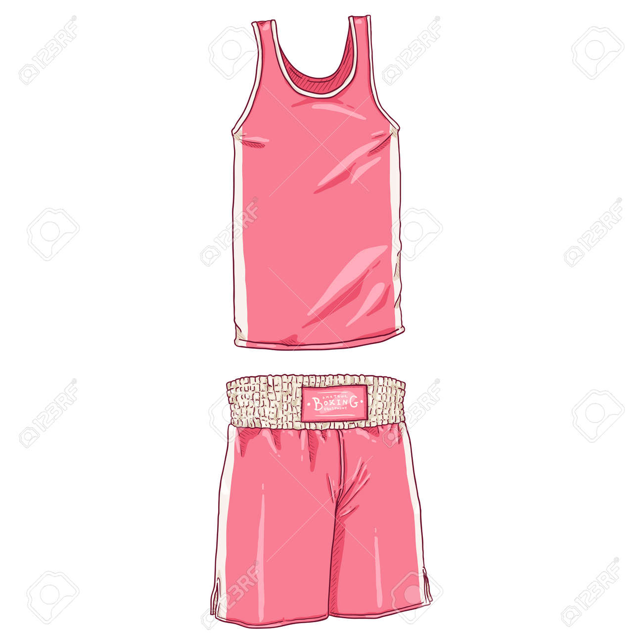 Vector Cartoon Pink Boxing Uniform. Shorts and Tank Shirt. - 168798667