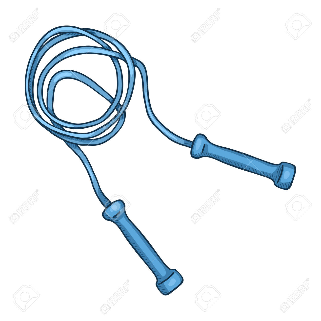 Vector Cartoon Blue Jumping Rope Illustration - 168798671
