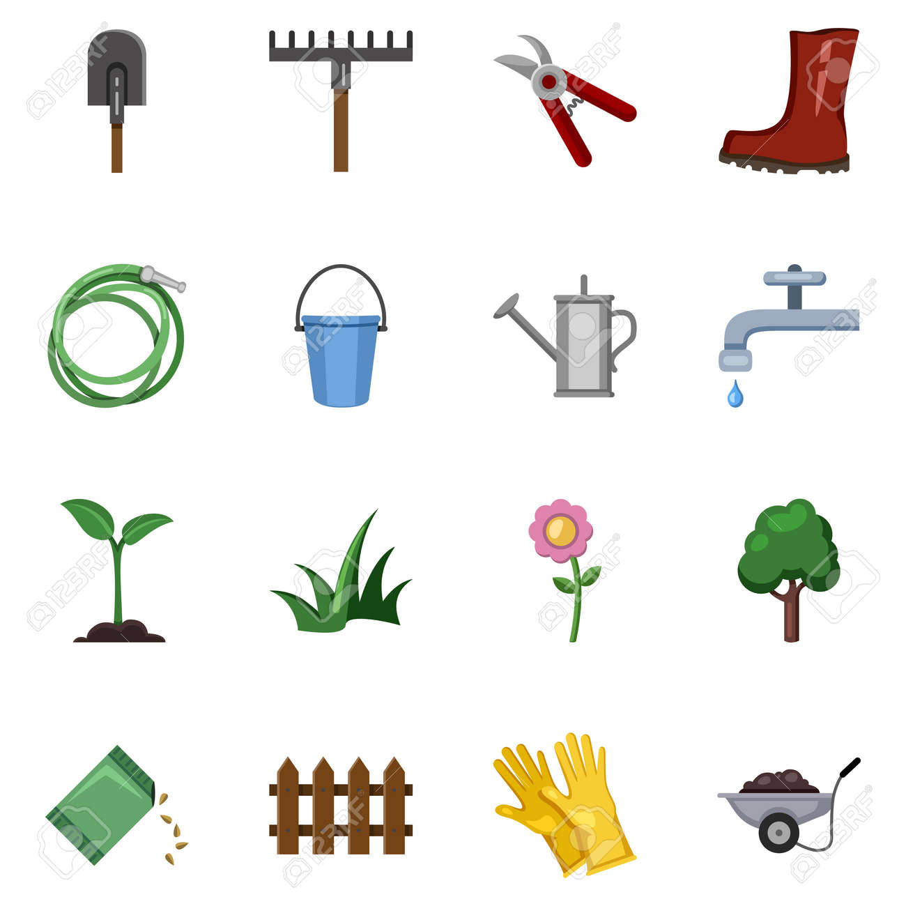 Vector Set of Garden Icons. Color Flat Gardening Tools and Plants - 169351013