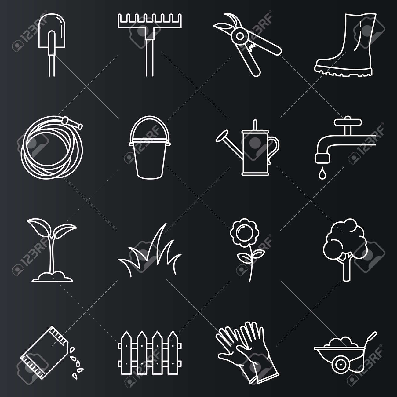 Vector Set of Garden Icons. Gardening Tools and Plants Outline Symbols - 169351012