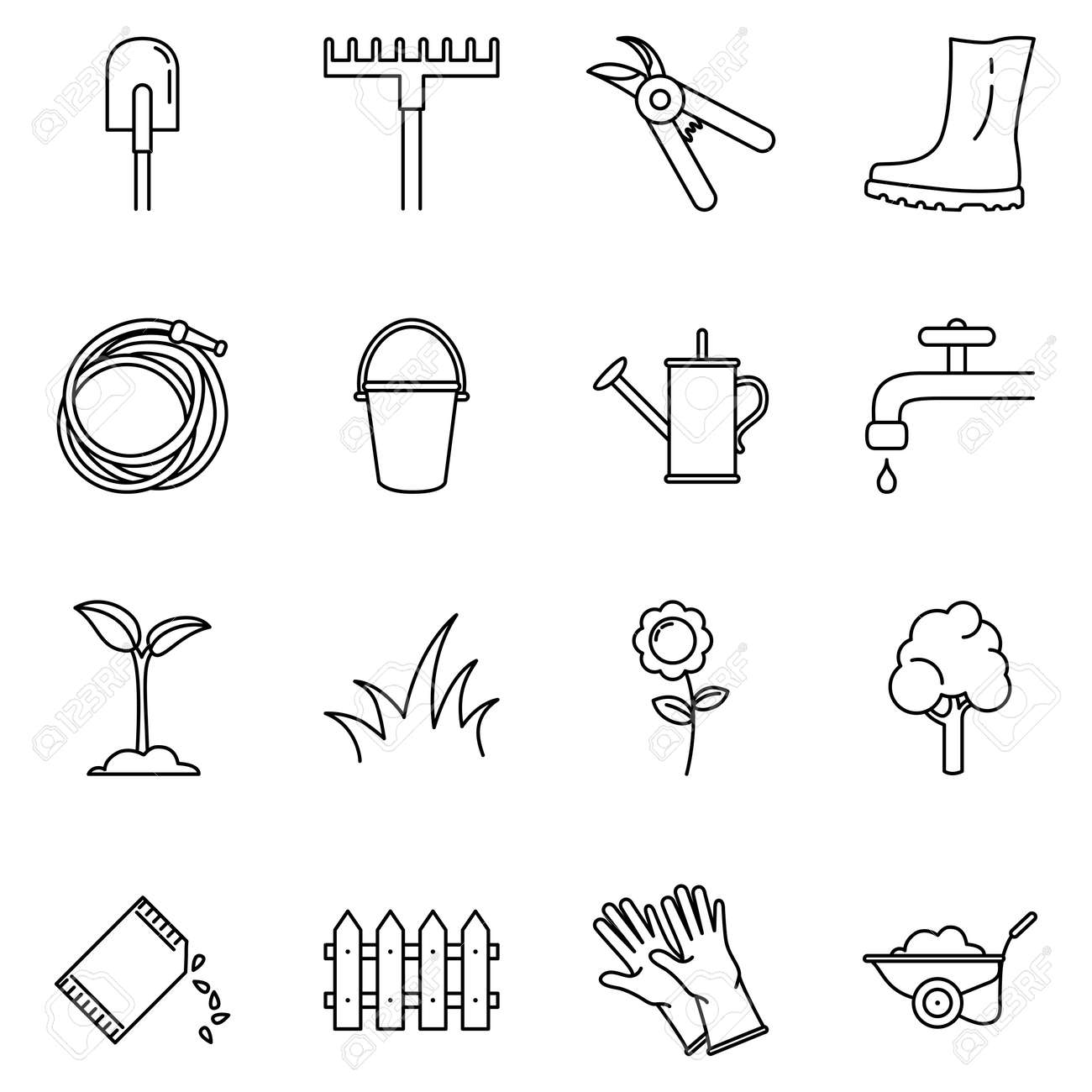 Vector Set of Garden Icons. Gardening Tools and Plants Outline Symbols - 169351014
