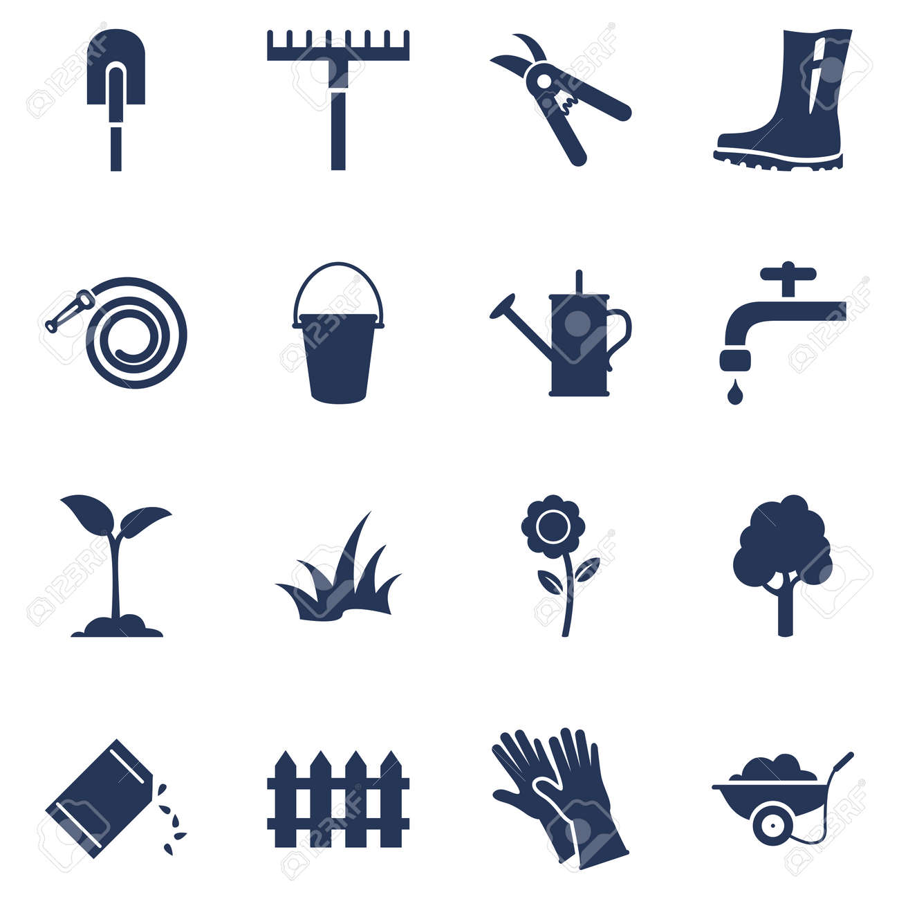 Vector Set of Garden Icons. Silhouette Gardening Tools and Plants Symbols - 169351015