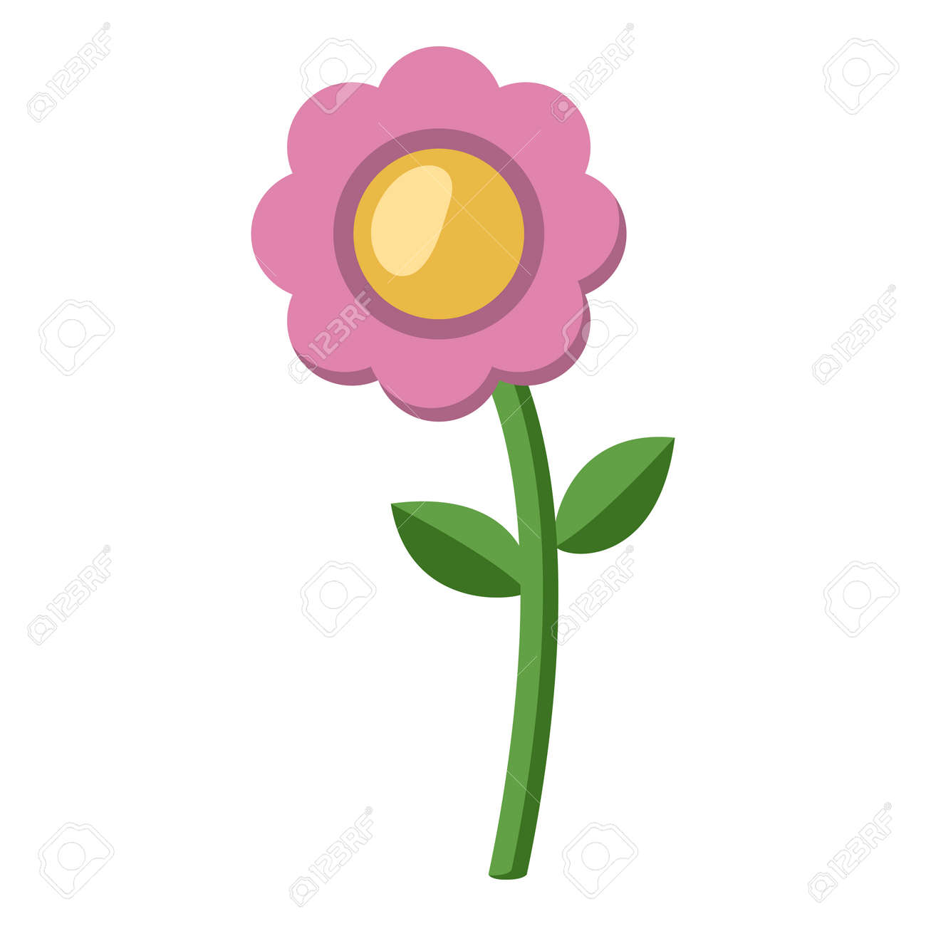 Vector Flower Color Flat Icon on White Background - 169351115