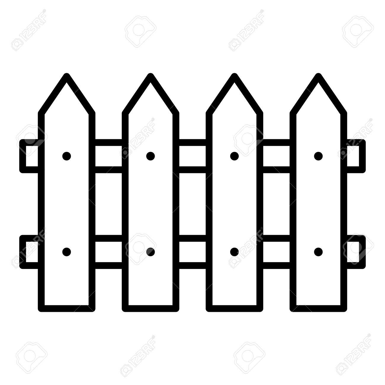 Vector Fence Icon. Palisade Minimalistic Outline Illustration. - 169351233