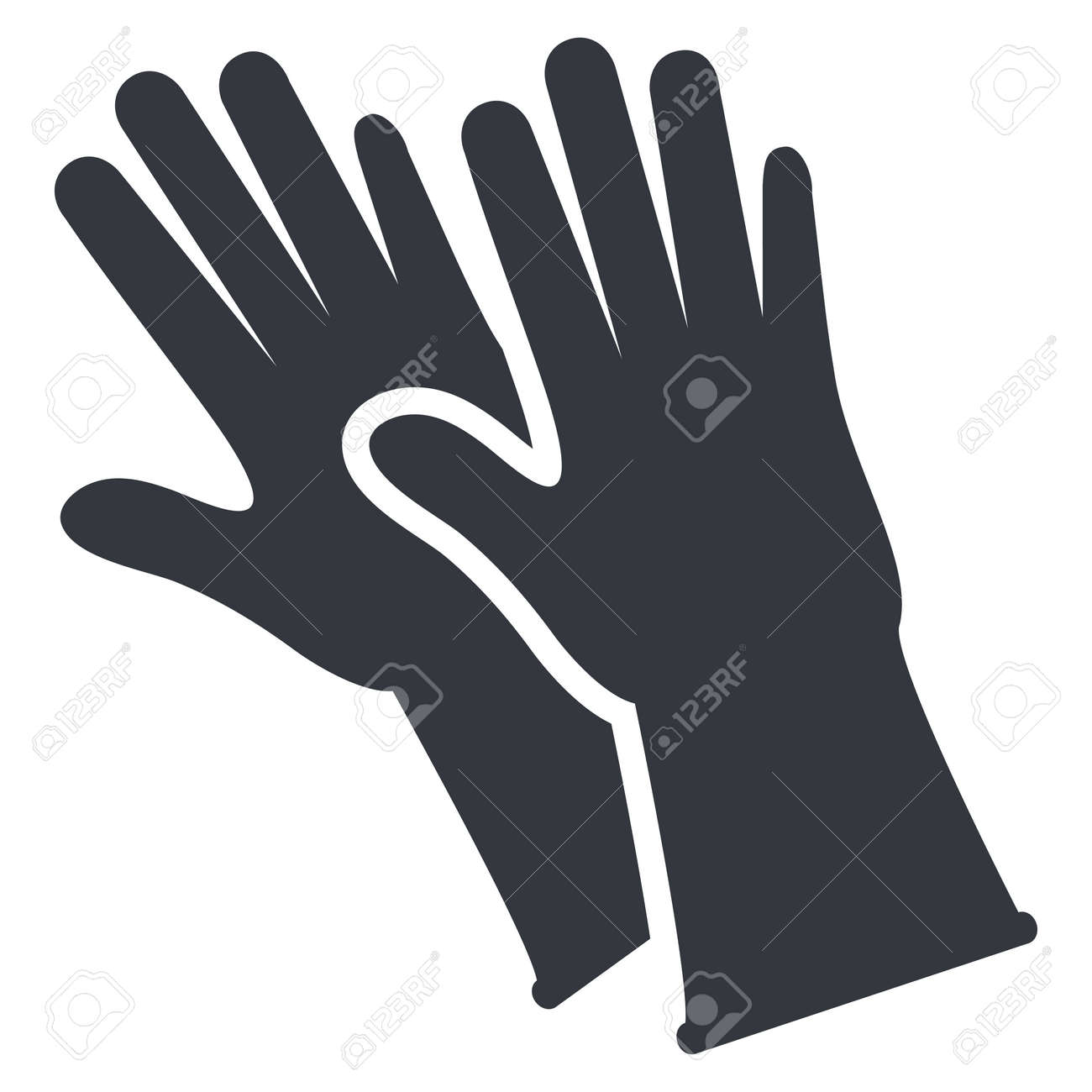 Rubber Gloves Silhouette Icon on White background - 169351234