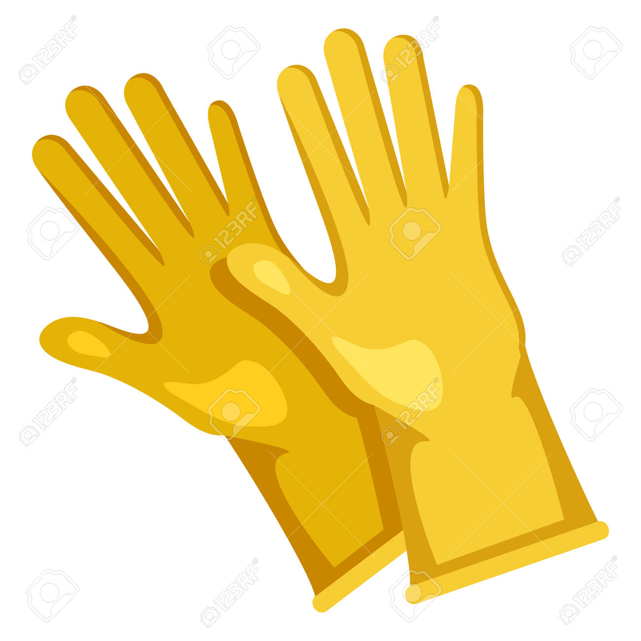 Rubber Gloves Color Icon on White background - 169351236