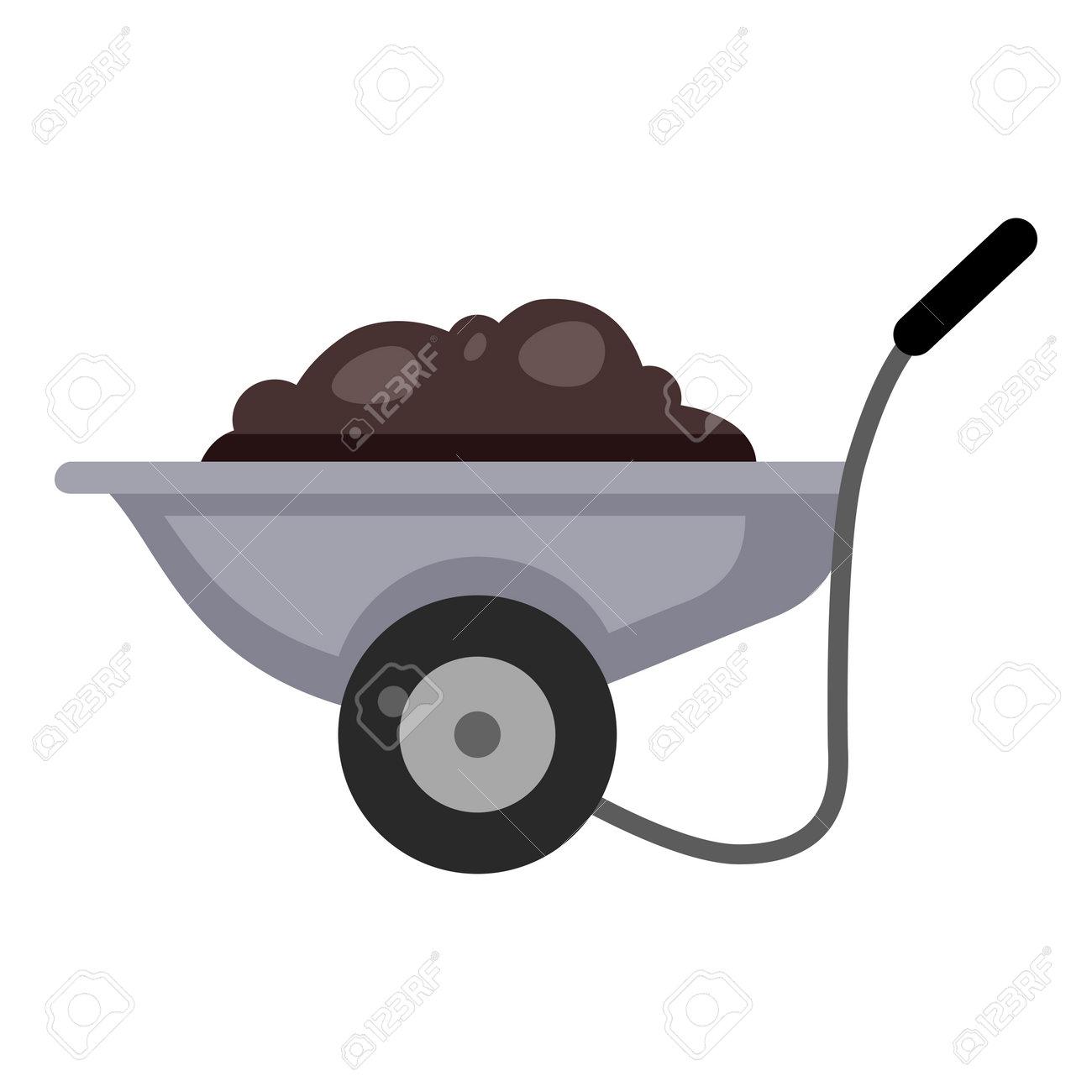 Garden Cart with Soil. Vector Color Flat Icon. - 169351241