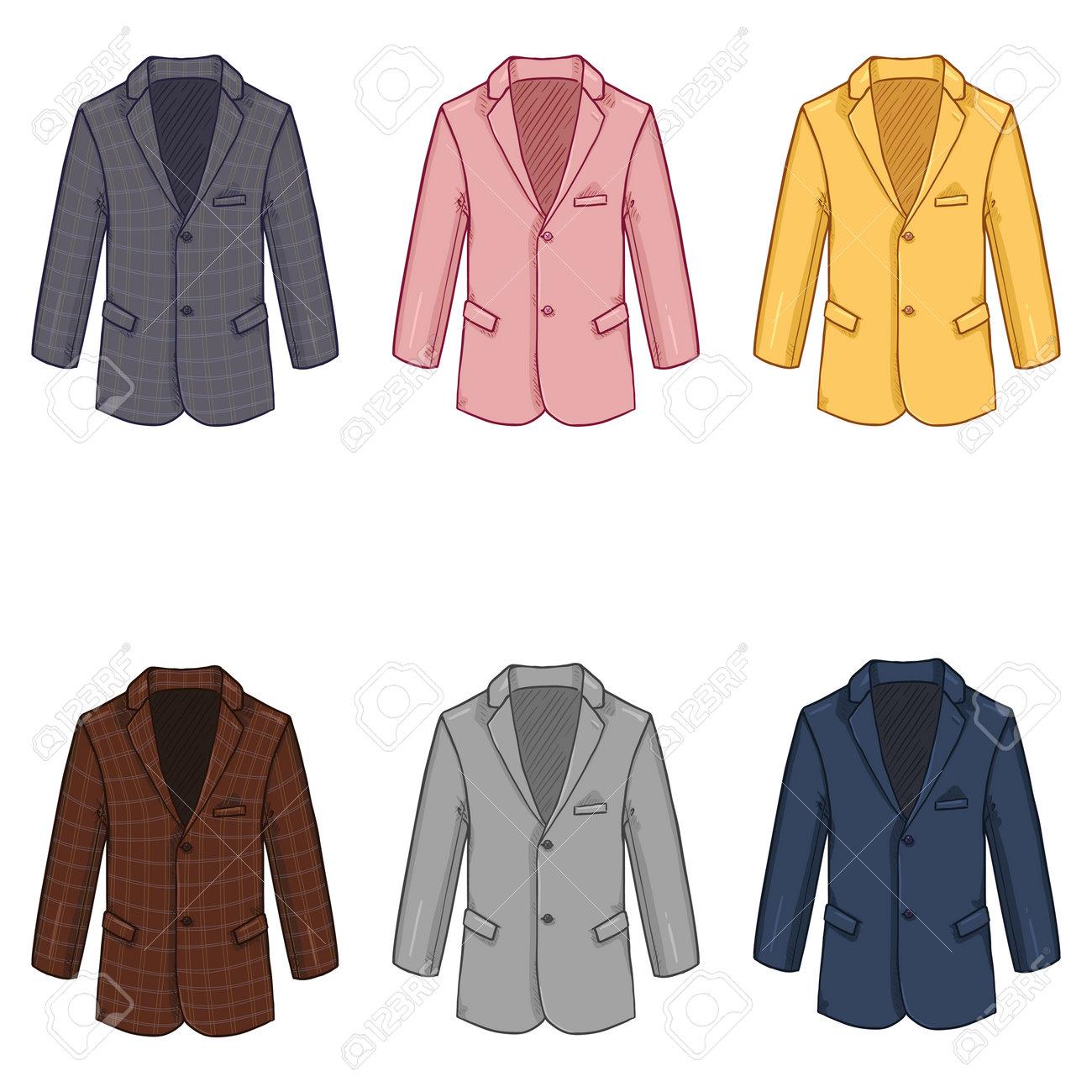 Vector Set of Cartoon Blazers. Color Variations of Suit Jacket - 169663654