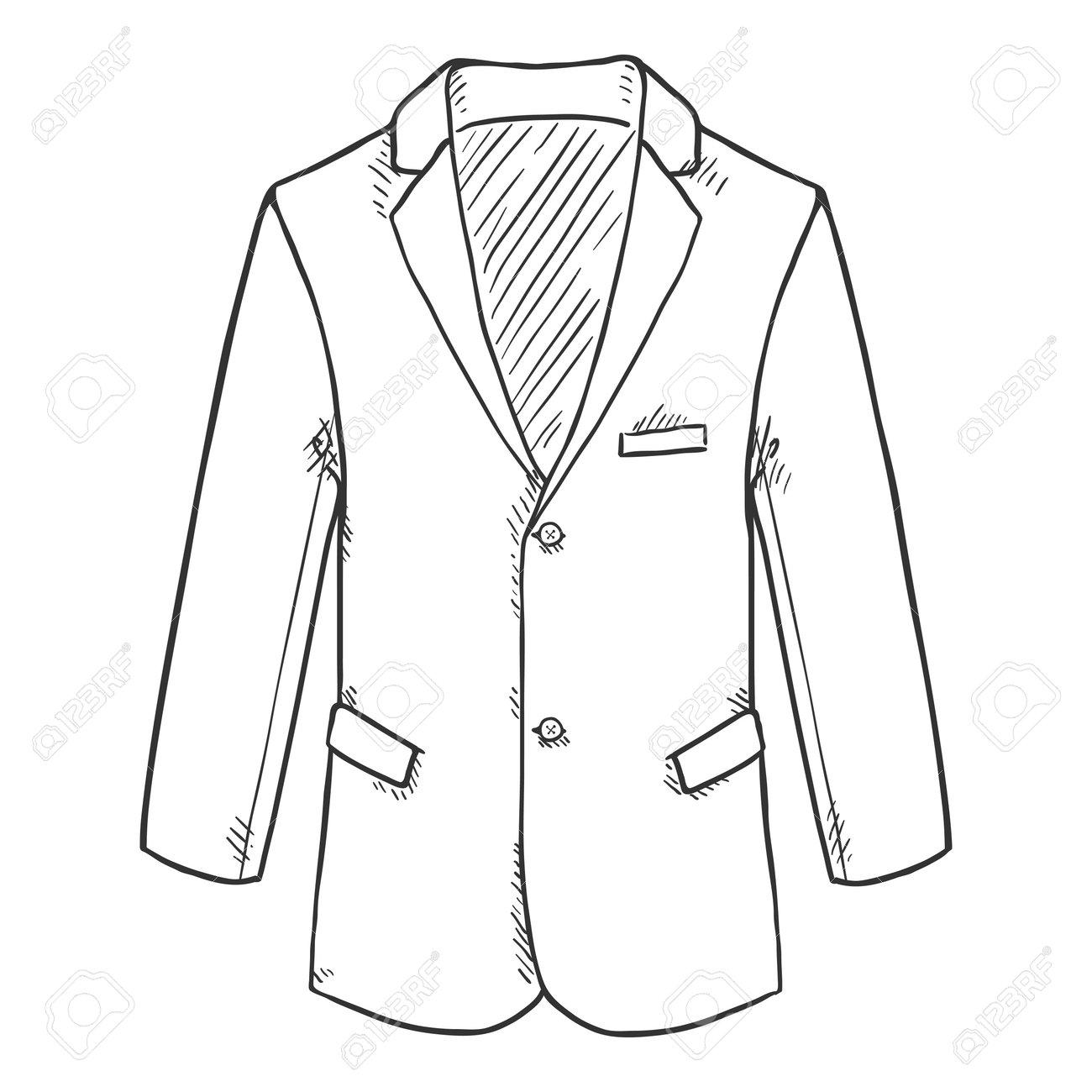 Sketch Blazer. Suit Jacket Vector Hand Drawn Illustration. - 169663656