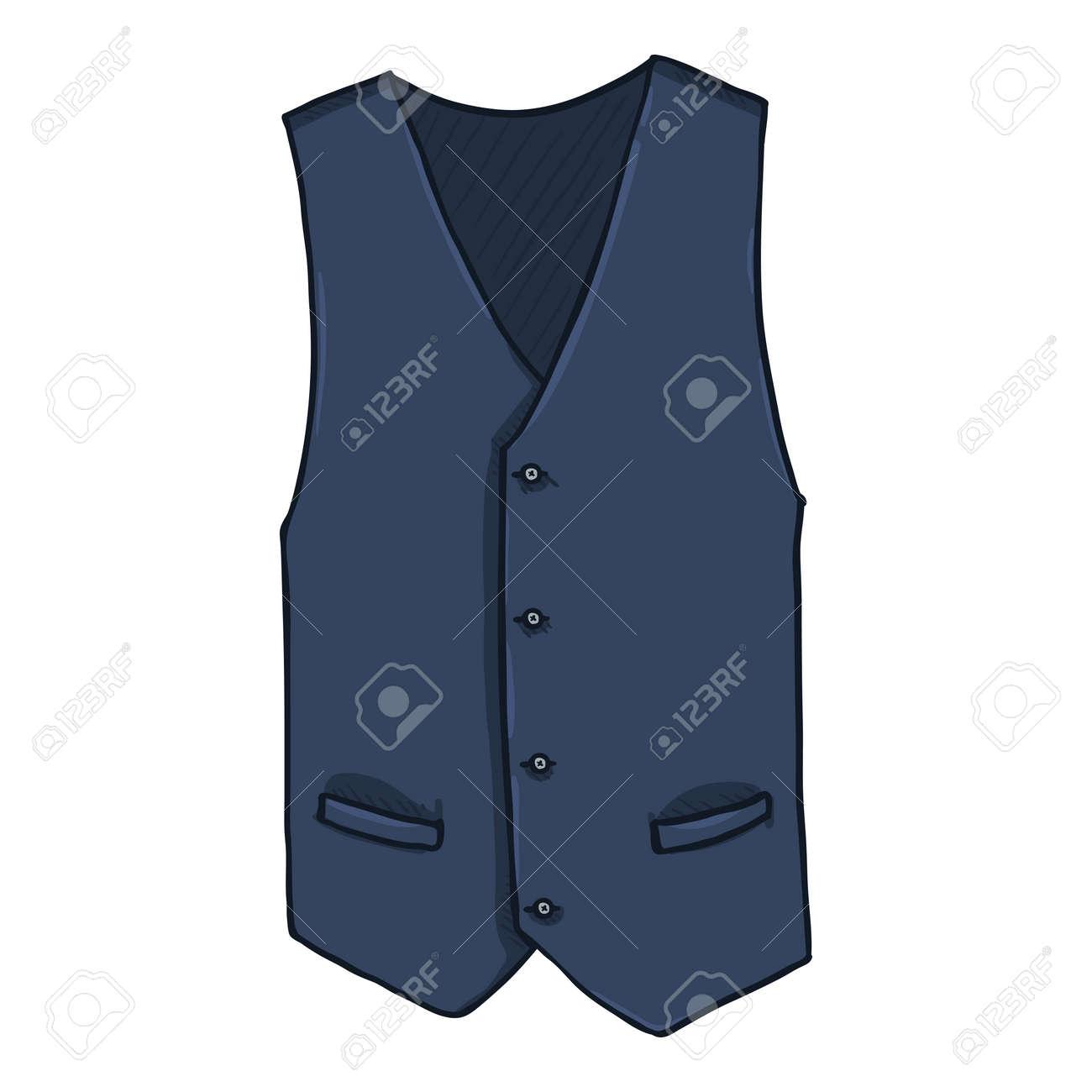 Waiscoat. Vector Cartoon Illustration of Dark Blue Vest - 169663658