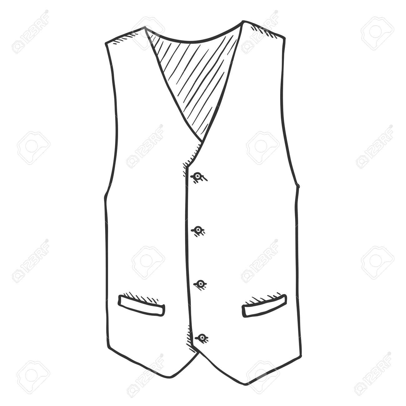 Sketch Waiscoat. Vector Cartoon Illustration of Hand Drawn Vest - 169663662