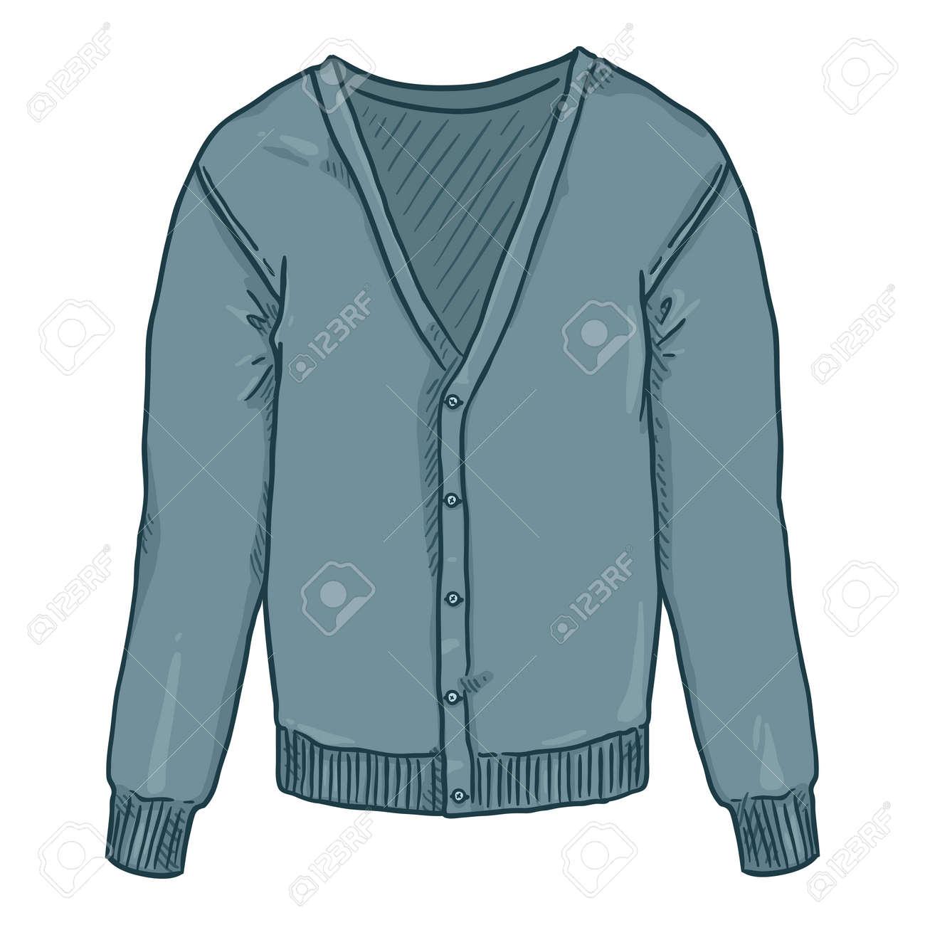 Blue Cardigan on White Background. Vector Cartoon Illustration - 169663663