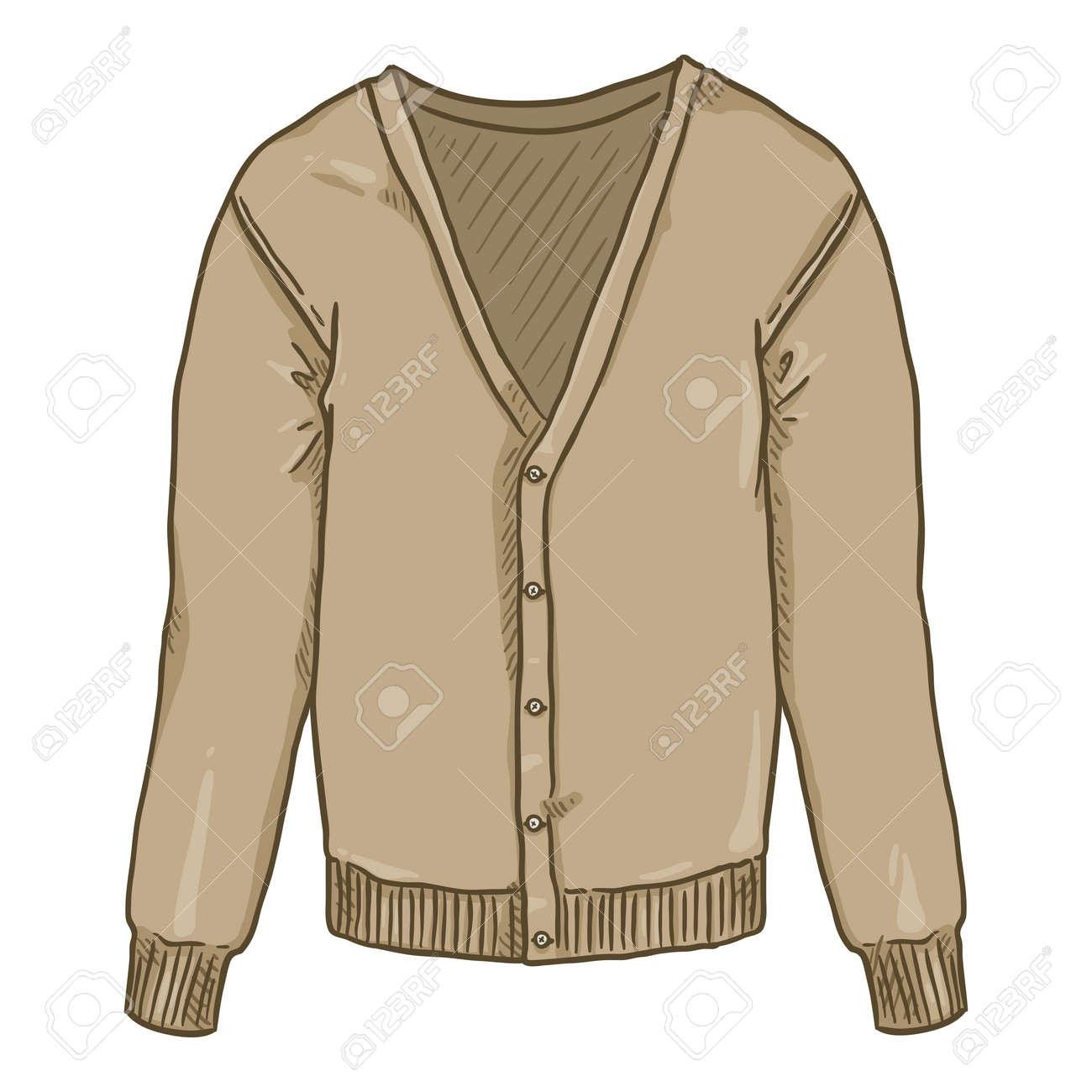 Brown Cardigan on White Background. Vector Cartoon Illustration - 169663664