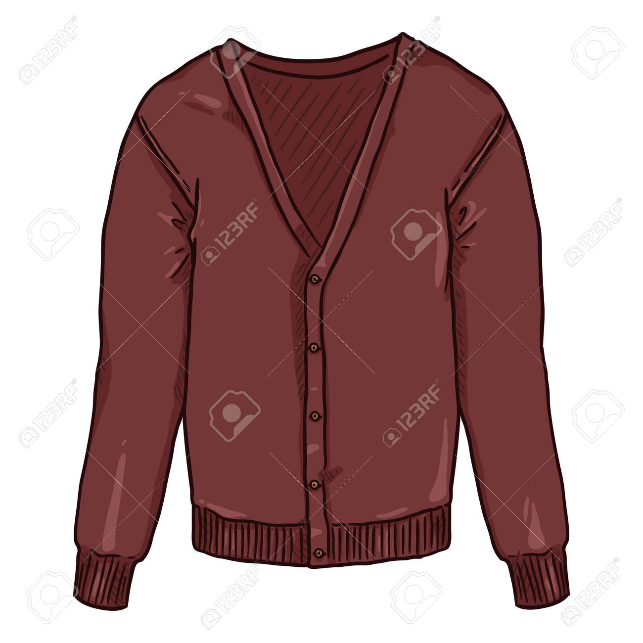 Red Cardigan on White Background. Vector Cartoon Illustration - 169663666